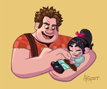 Ralph tickles Vanellope - COMMISSION by BigJohnnyCool