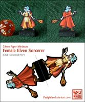 Female Elven Sorcerer - 28mm Paper Mini by Pasiphilo