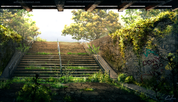 Overgrown Stairway by Aeflus