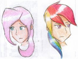 Fluttershy and RD by FreedRose