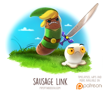 Daily Paint 1513. Sausage Link by Cryptid-Creations