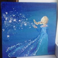 FROZEN Elsa Acrylic 6x6 painting FOR SALE by FumiDeeCat