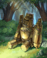 Golden Golem by Roggles