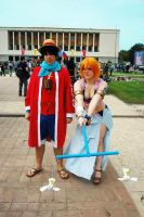 Nami Fine Tempo and Luffy - Alabasta Cosplay by NamiTheQueen13