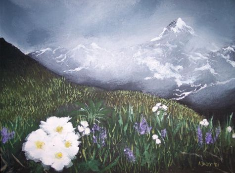 Flowers and Mountains by ajburr
