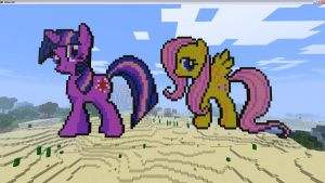 Twilight and Fluttershy in Minecraft by TheBlackNeko