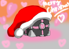Christmas Companion Cube by SolarPaintDragon