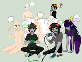 Homestuck gaming collab by KiraNightViolet