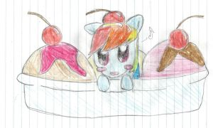 Rainbow Dash in a sundae by Crystalneko324