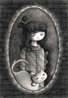 Girl with Cat by o0Amphigory0o