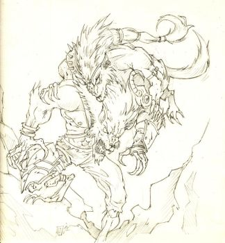 Werewolf Pencil quicky for Harry-Botter by Voodoodwarf