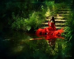 The red woman at the lake by LilifIlane