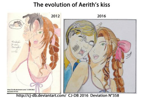 The evolution of Aerith's kiss by CJ-DB
