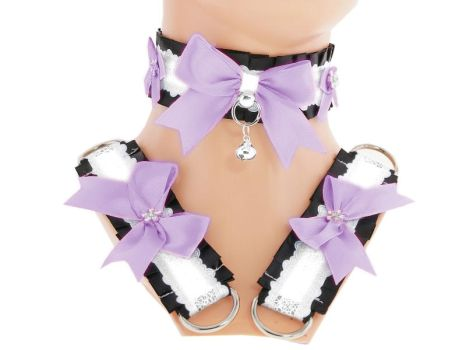 Lilac white satin kitten play collar and cuffs, by Eusebie