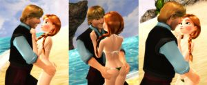 Kristoff and Anna - At the beach by Simmeh