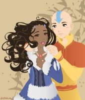 Aang and Katara by Blush-Art