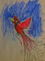 red bird painting by HamletTheDetective
