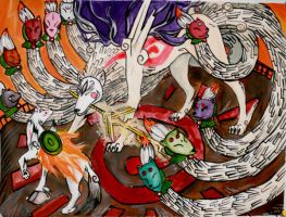 Amaterasu Battles Ninetails by Chicken-Priestess