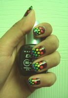 Dotted Rainbow Nails by Taikutsukid