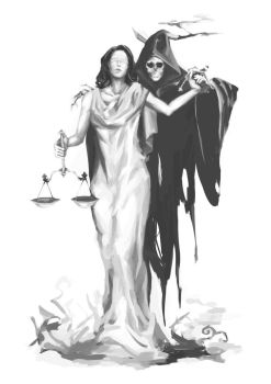 Lady Justice and the Reaper by calciumandsugar