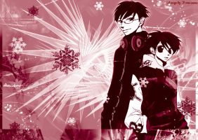Kyoya and haruhi wallpaper by outsidecastle