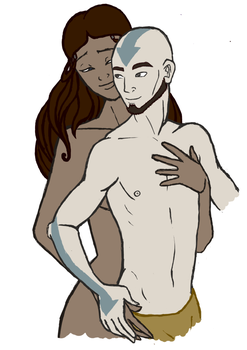 Aang and Katara by smallspidersad