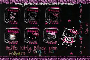 Hello kitty Black pInk Folders icons by AlekSakura