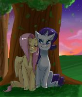 Sitting by a tree by EllaMRed