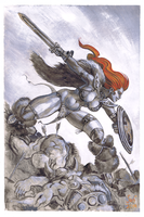 Red Sonja painting by Jebriodo