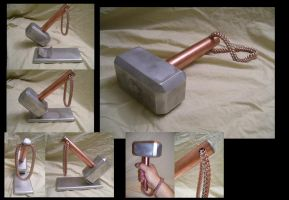 Aluminum and Copper Thor's Hammer Mk II by creativeetching