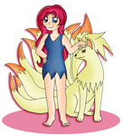 Ninetales and its Trainer by yuefye