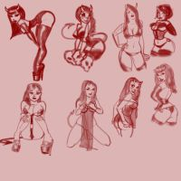 Devil Girl Sketches by TheCosbinator