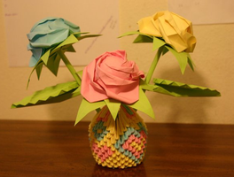 Origami Roses with 3D Heart-Design Basket by CrystallizedJello