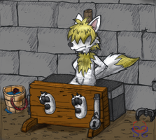 Colouration Fox in stocks by Scoutter