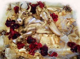 Golden Taurus Cake full by 6eki