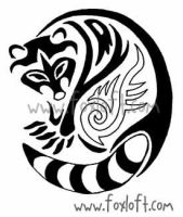 Tribal Raccoon Tattoo by Foxfeather248