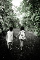 two kids and a forest path by garganroo