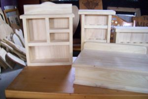various oil shelves,altar boxes,witch cupboard WIP by WOODEWYTCH