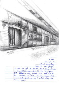 Dystopian Sydney Train sketch WIP by Squiddosnazz