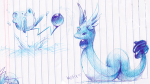 dragonair and marill by KoriArredondo