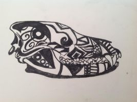 Tribal Wolf Skull by MagicallyCapricious