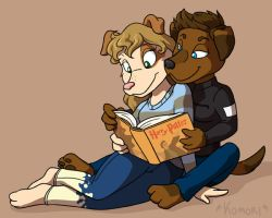 LS Commish- Cuddle Reading by ChaosKomori
