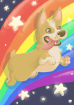 Crazy Rainbow Dog Thought Art by rosebfischer