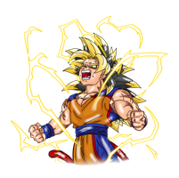 SSJ5 Goku DBNA Render (With Electricity) by Nassif9000