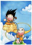 Kid Goku and Kuririn (Please don't fly so fast...) by jannettella