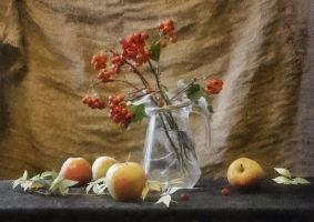 still life with haw and apples by Volodina-Yulia