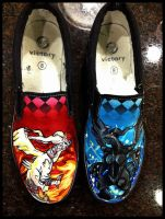 Black and White Pokemon shoes by OliviaNub