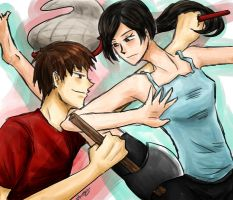 Wii Fit Trainer/Villager - SSB4 by Reikiwie