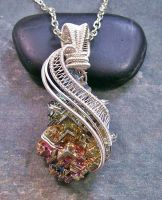 Woven Wire Bismuth Crystal Pendant in Silver by HeatherJordanJewelry