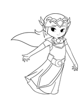 WW-ST Zelda Lineart by Icy-Snowflakes